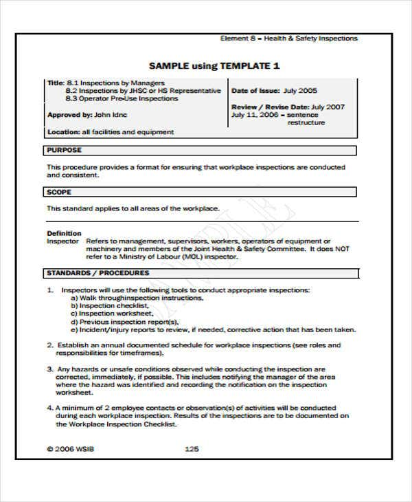 Safety Report Templates 13 Free Sample Example Format