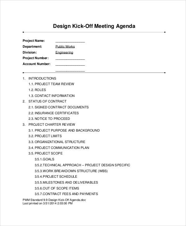 kick off design meeting agenda