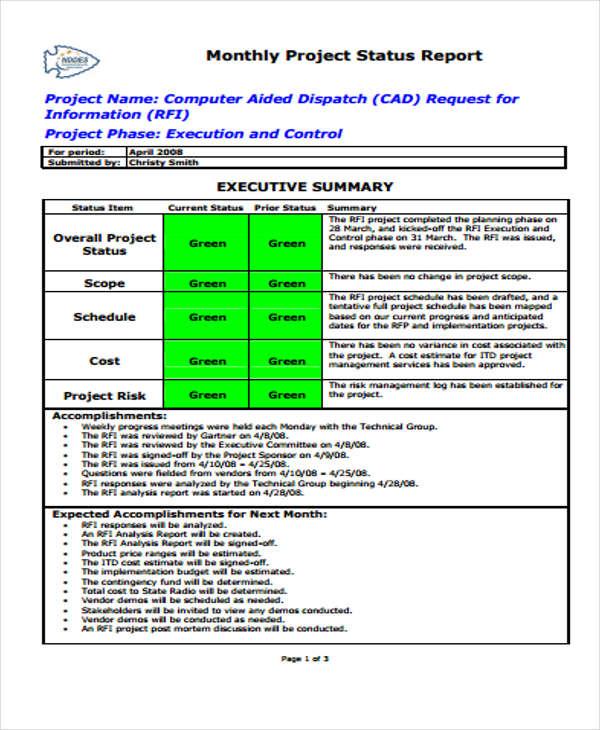 11+ Sample Status Report Templates | Free & Premium Templates