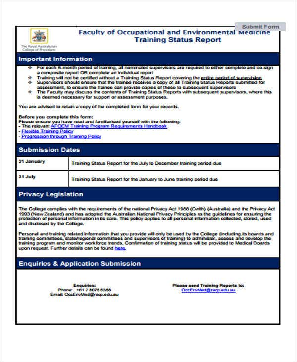 free training status