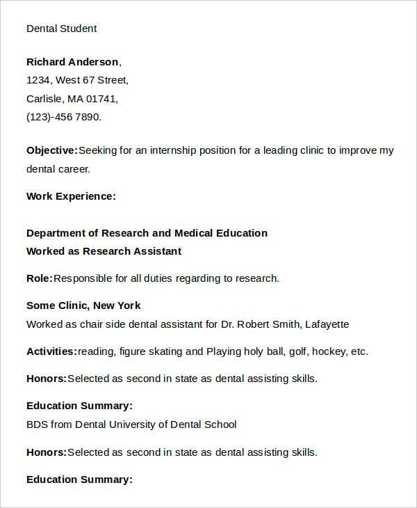dental student resume dental resume writing tips dental