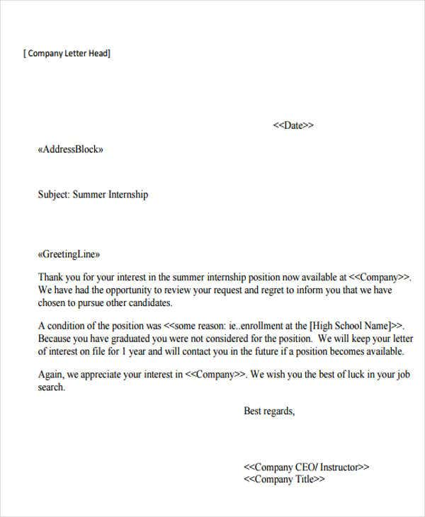 Internship Rejection Letters  Free Sample Example Format