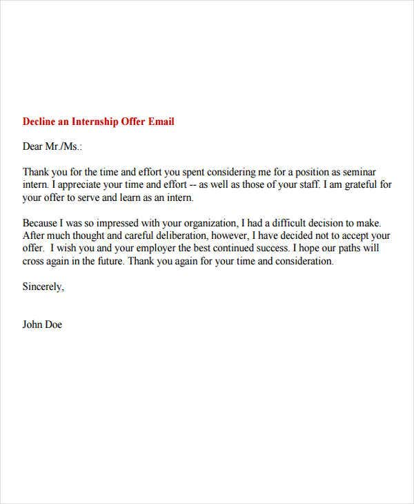6 Internship Rejection Letters Free Sample Example