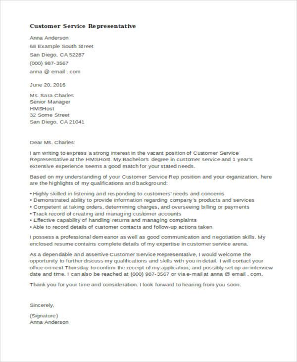 Cover Letter Customer Service Representative: Free & Premium Templates