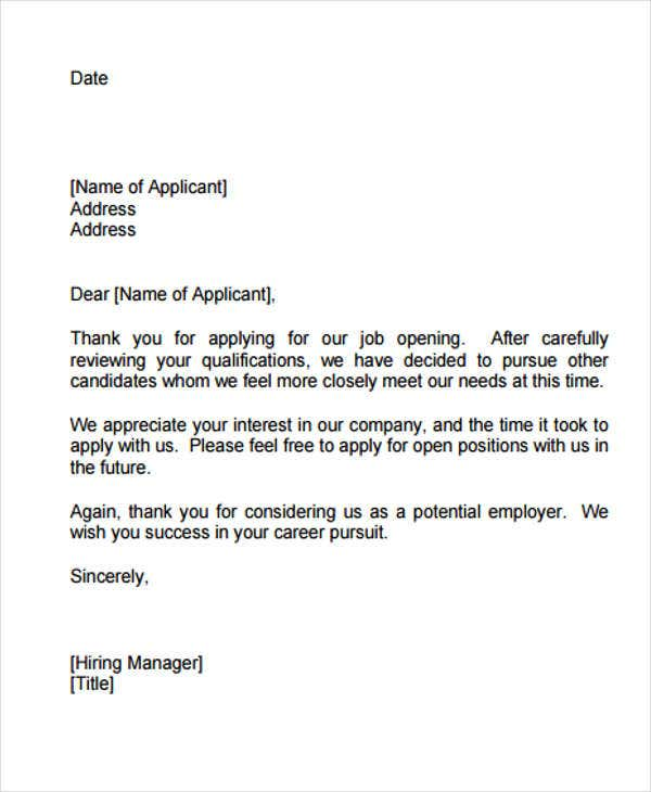 6+ Internship Rejection Letters - Free Sample, Example Format