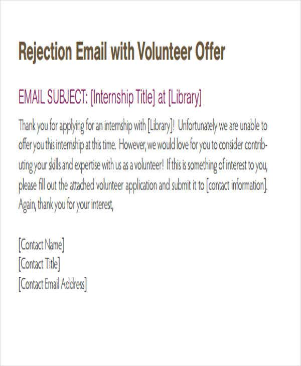 6 Internship Rejection Letters Free Sample Example Format