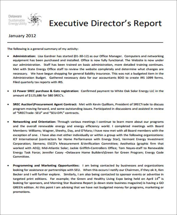 15  sample executive report formats
