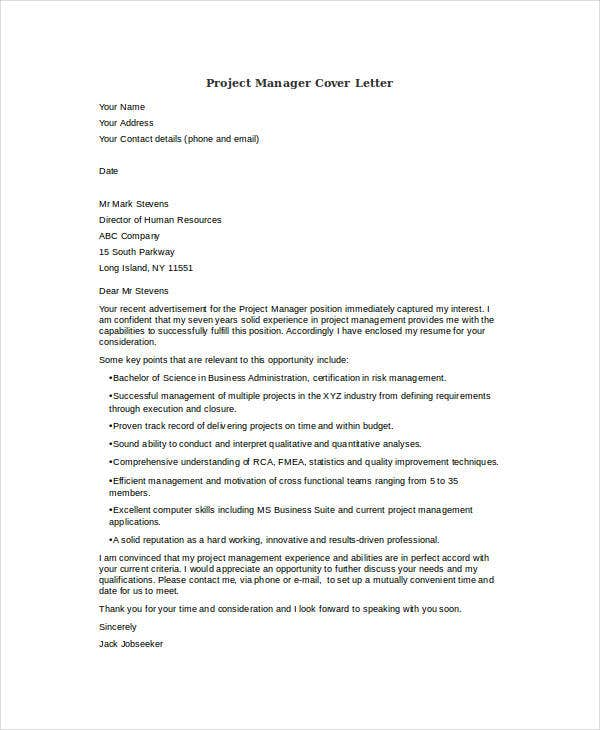 Broadcast Project Manager Cover Letter