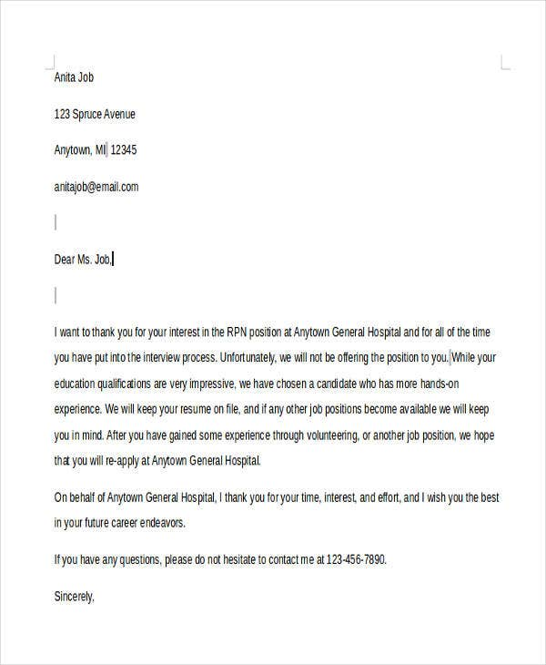 37  rejection letter sample