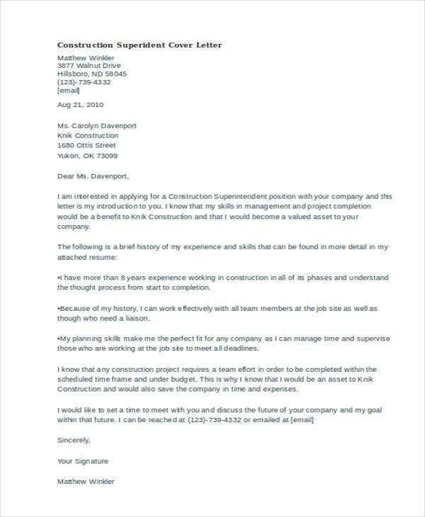 45 Cover Letter Templates – Superintendent Cover Letter
