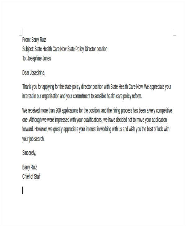 rejection email letter