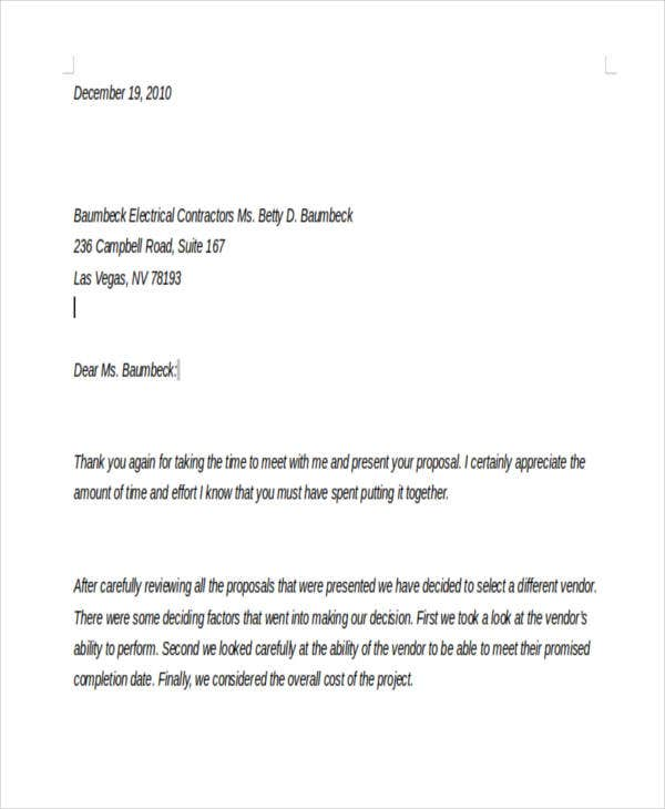 Decline Invitation Letter Sample Rfp Proposal Rejection Letter