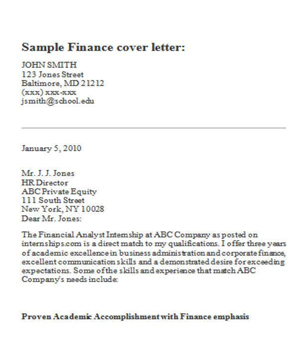cover letters for internships in finance