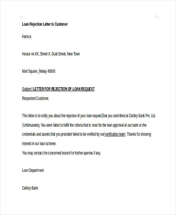 37 rejection letter sample free premium templates bank loan request rejection spiritdancerdesigns Gallery