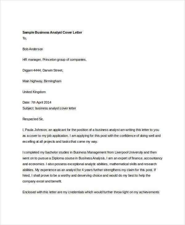 Business Cover Letter. Business Analyst