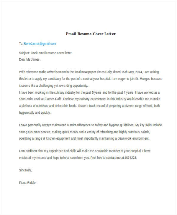 46 cover letter samples free premium templates - How To Email A Resume And Cover Letter