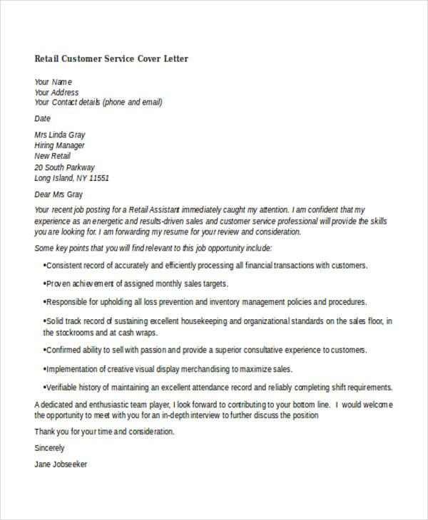 Job Cover Letter Customer Service