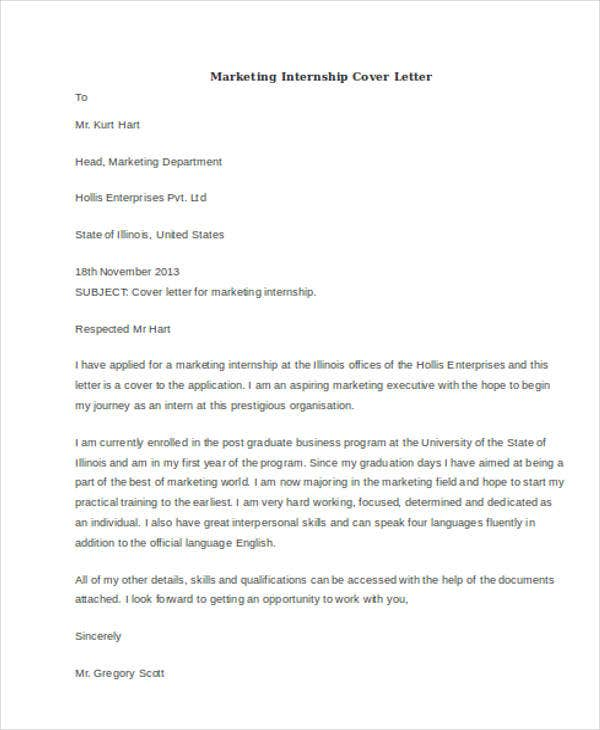 marketing internship - Cover Letter For Marketing Internship