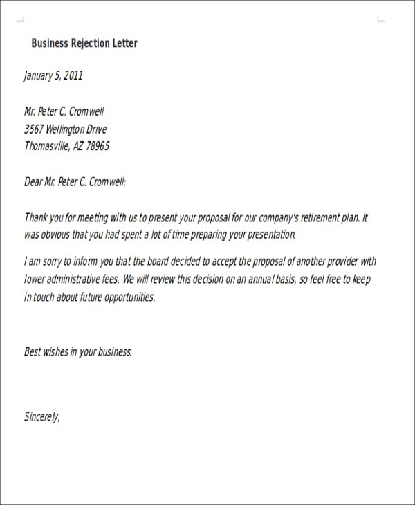 10 formal rejection letters free sample example format download formal business rejection thecheapjerseys Image collections