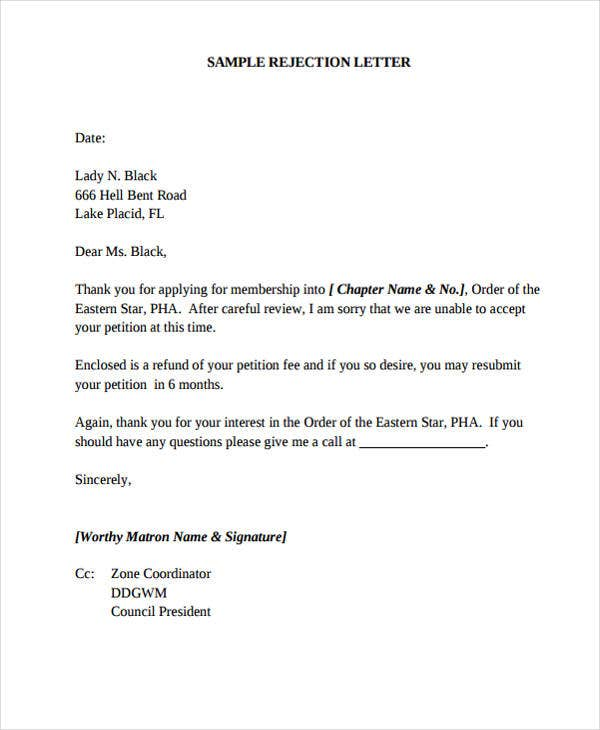membership rejection letter