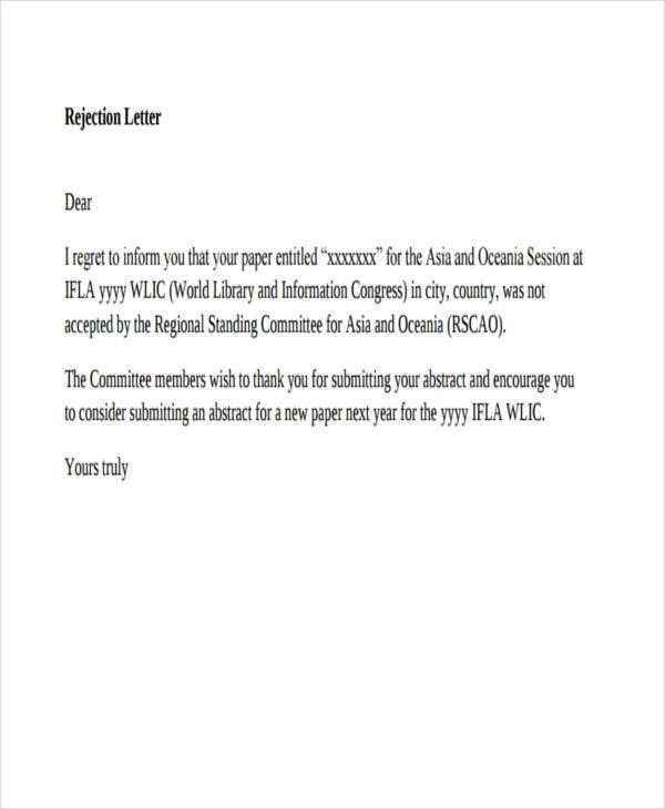 committee member rejection letter