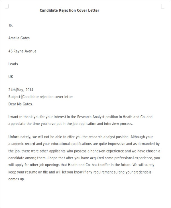 10+ Formal Rejection Letters - Free Sample, Example Format ...