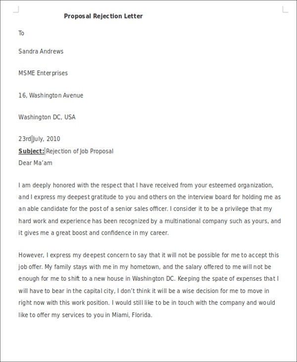 10 formal rejection letters free sample example format download proposal rejection spiritdancerdesigns Gallery
