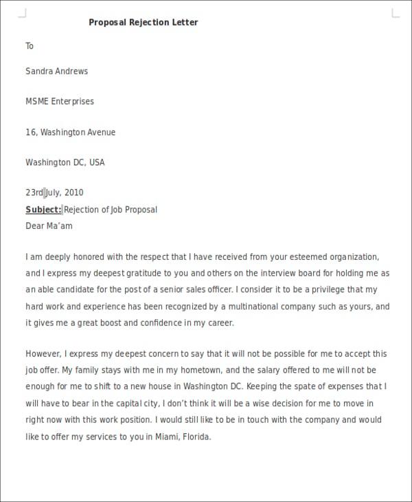 proposal rejection letter