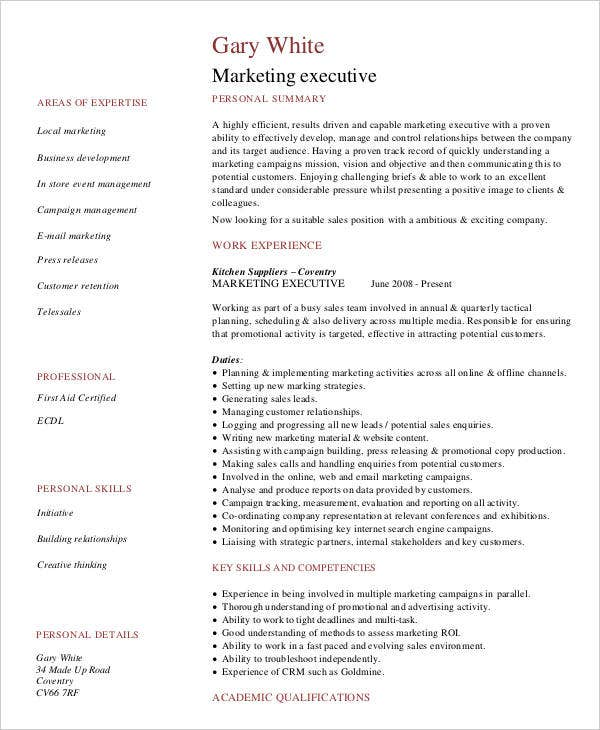 Marketing Executive Example