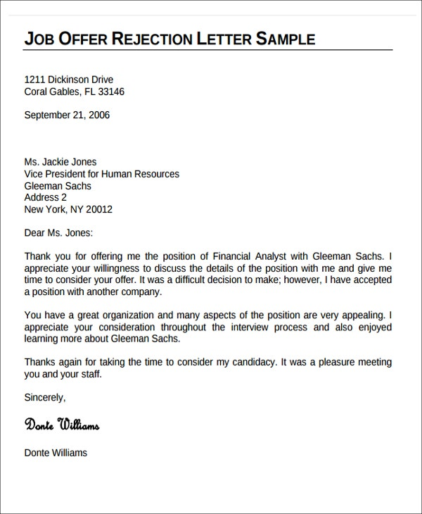 10+ Formal Rejection Letters   Free Sample, Example Format