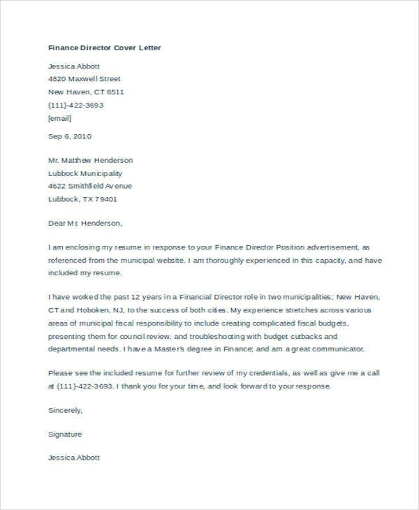 Cover Letter Samples Free  Premium Templates - Budget director cover letter
