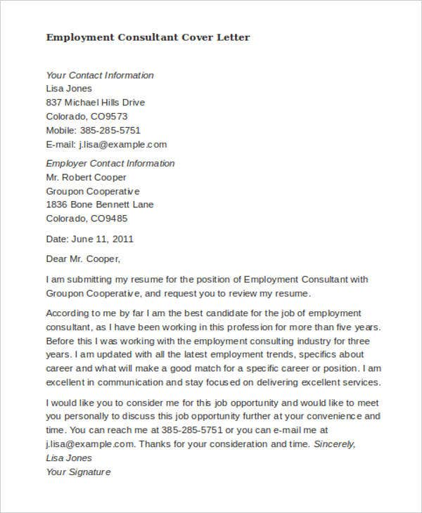 46 Cover Letter Samples – Employment Cover Letters