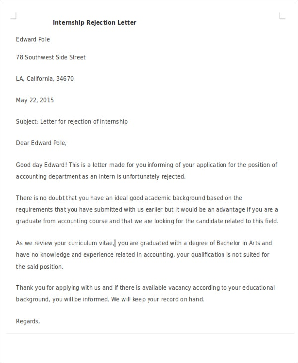 Formal Rejection Letters  Free Sample Example Format Download