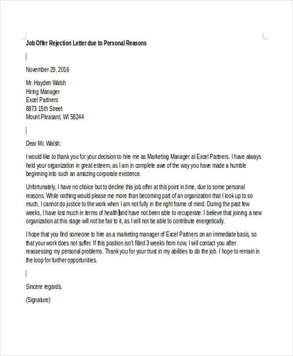 Reject job offer letter tiredriveeasy reject job offer letter spiritdancerdesigns Gallery