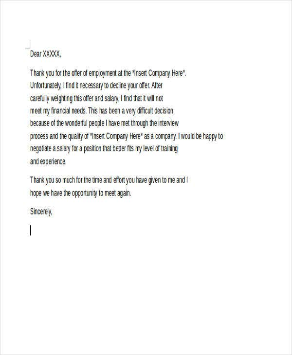 letter to turn down a job