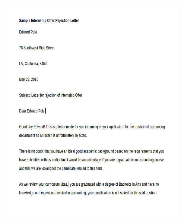 Offer Rejection Letters   Free Sample Example Format Download