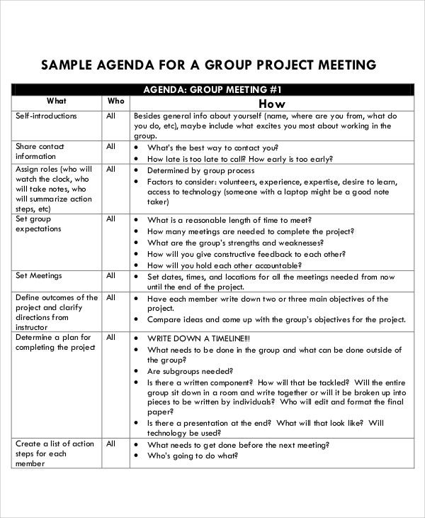 group project agenda example