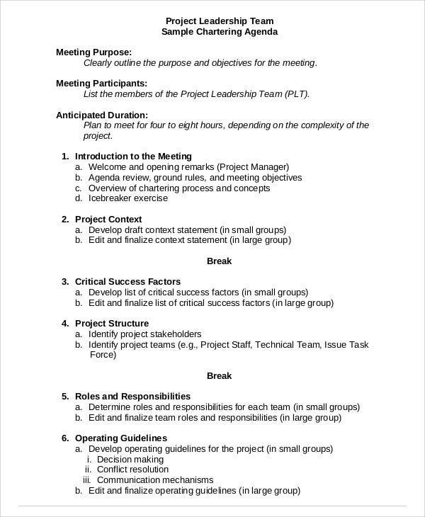 project agenda sample