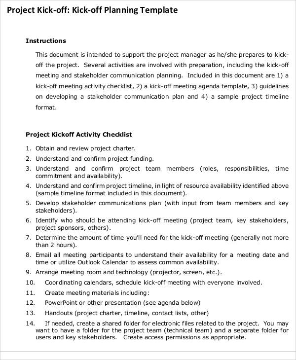 project planning agenda
