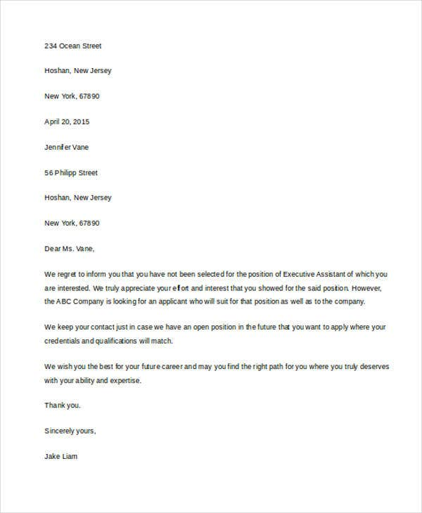 standard employment rejection letter