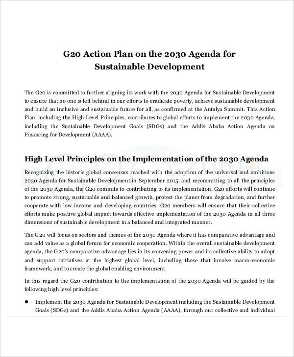 action plan agenda template