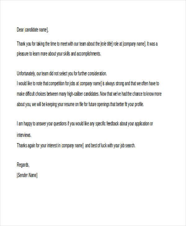 26 rejection letters in doc free premium templates email after interview spiritdancerdesigns Image collections