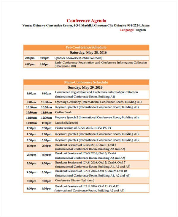 Conference Agenda Template | 11 Conference Agenda Format Templates Free Sample Example Format