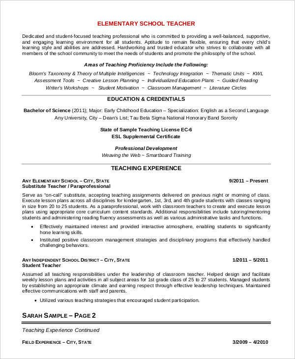 elementary school teacher resume example - Examples Of Elementary Teacher Resumes