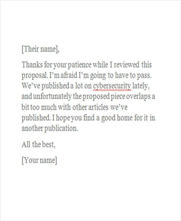 professional business rejection letter