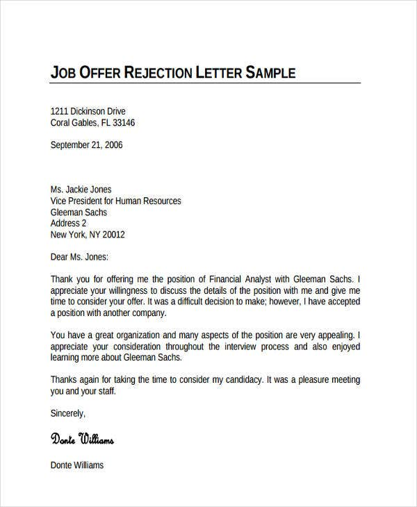 11 Job Refusal Letter Examples – Rejection Letter Sample
