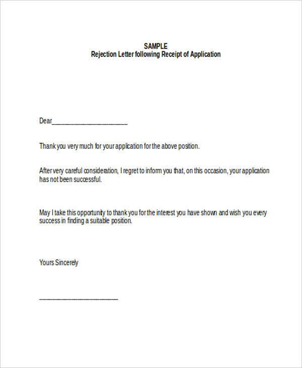 13 Job Refusal Letter Example Free Premium Templates