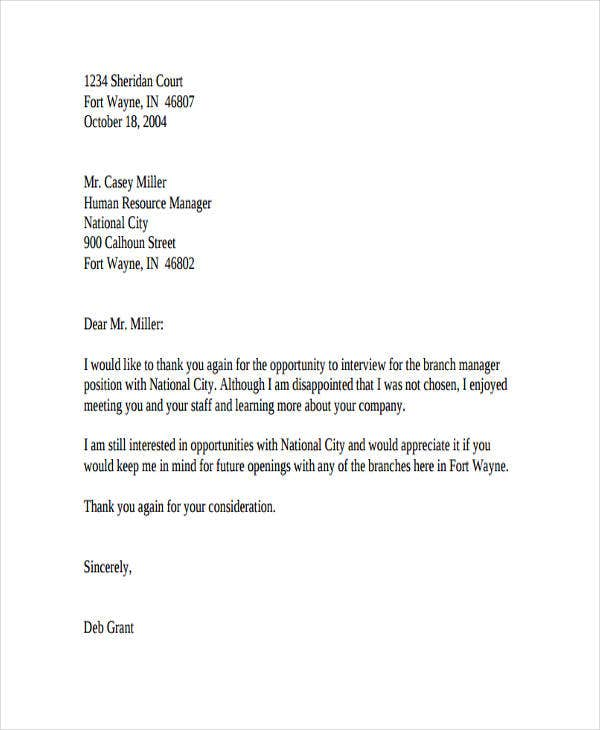 job rejection refusal letter