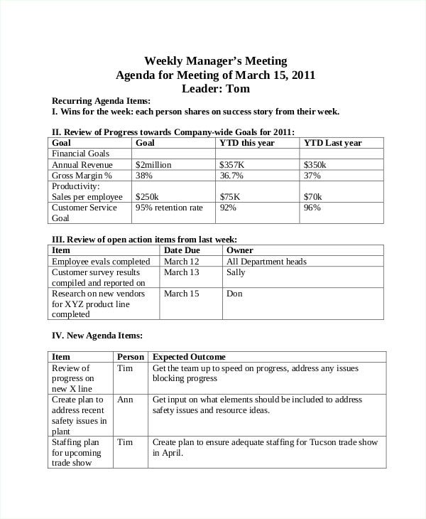 create agenda for meeting