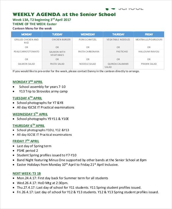 weekly school agenda1